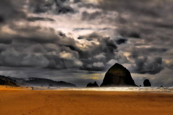 Clouds over cannon beach