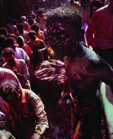 Boy playing holi