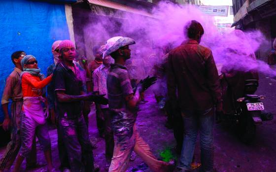 Boys playing holi