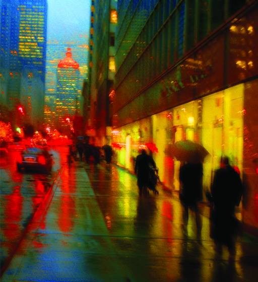 Raining evening on park avenue