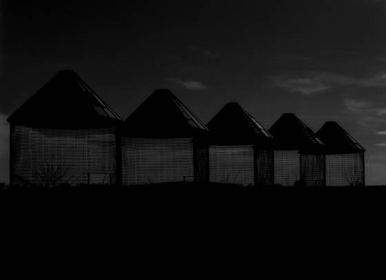 Corn bins at dusk