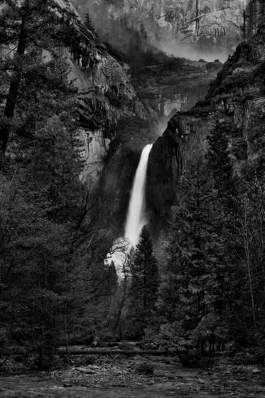 Mists above lower yosemite falls