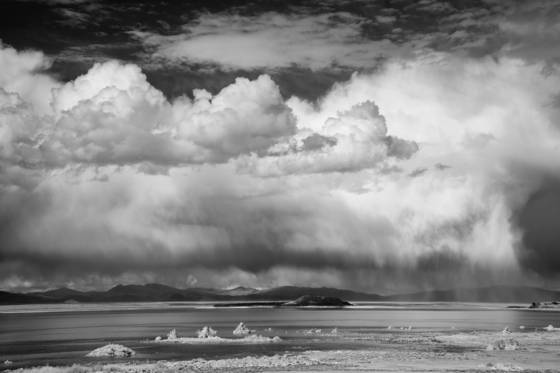 Rain showers over mono lake