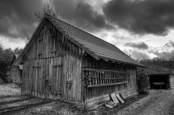 Old weather beaten barn