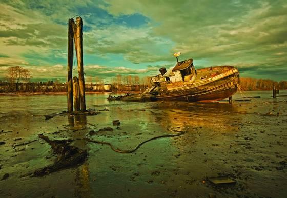 Old boat in golden light