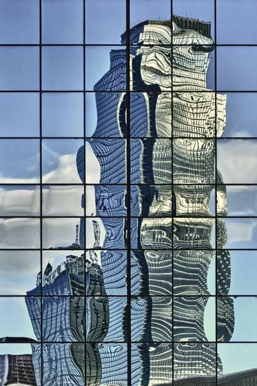 Dallas skyline reflection xxi