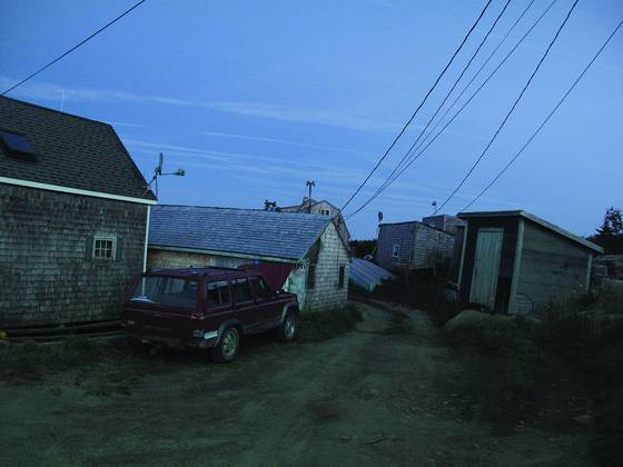 Harbor shacks at dusk