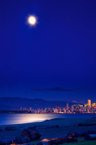 Moon over english bay