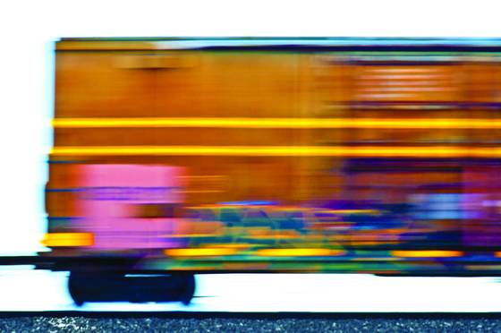 Colors thrown from a fast moving train