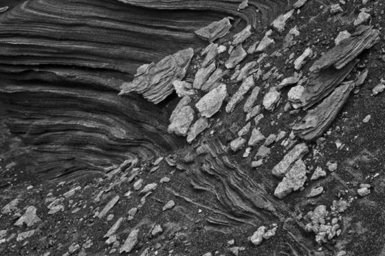 Volcanic ash striations