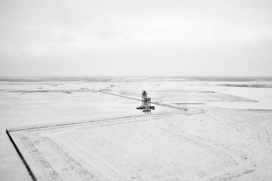 Radar tower in snow