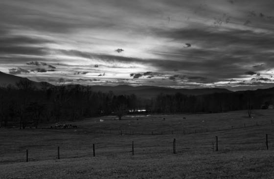 Sunset over cades cove