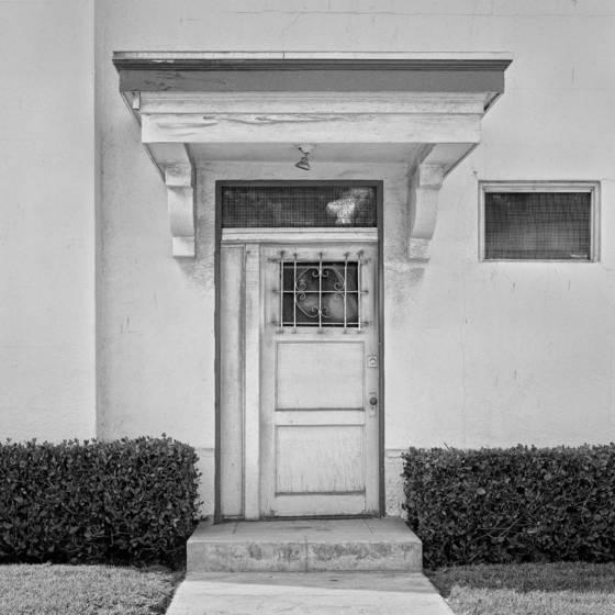 Doorway and shrubs