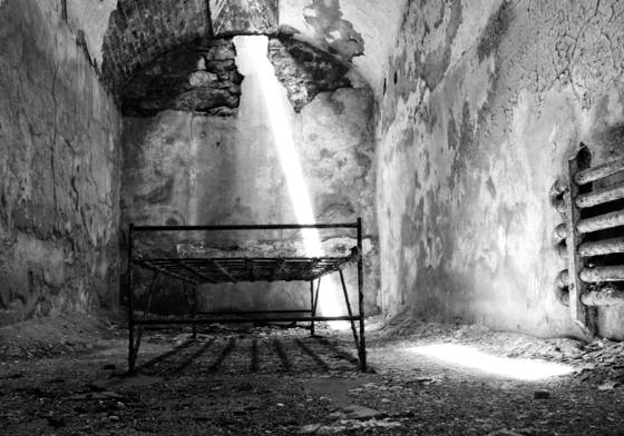 Eastern state penitentiary cot and light