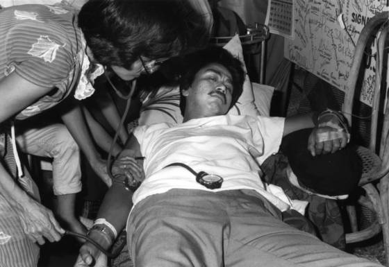Hunger striker having blood pressure taken