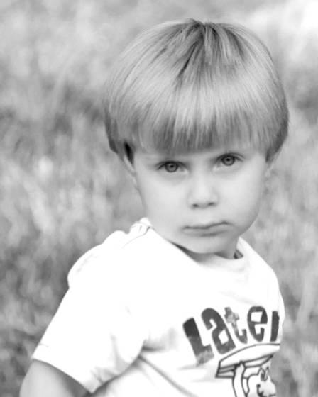 A serious little boy