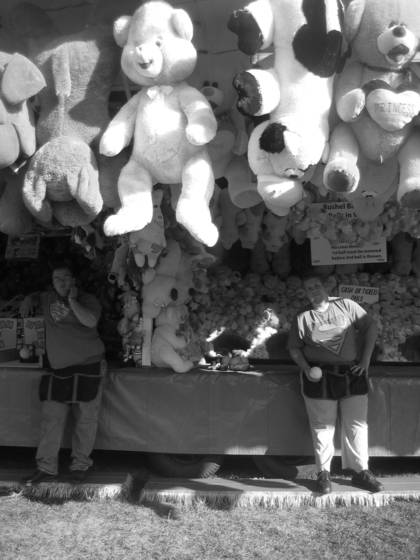 Canadian carnival workers with teddies