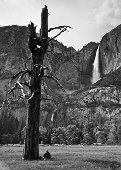A man with yosemite falls