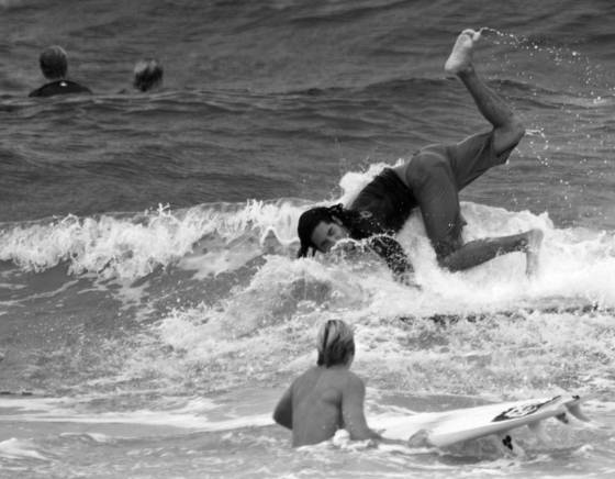 Surfer face plant