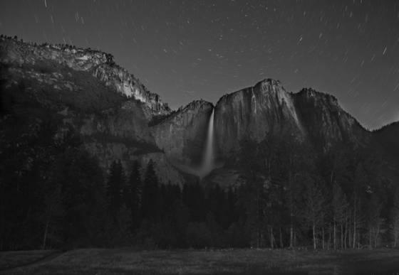 Yosemite falls after dark