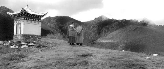 Monks on xiahe hilltop china 2008
