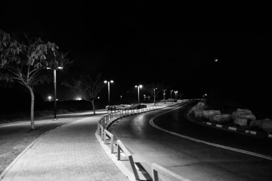 Desolate road at night  tel aviv israel 2012