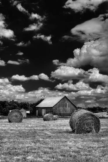 Hay bales by a barn