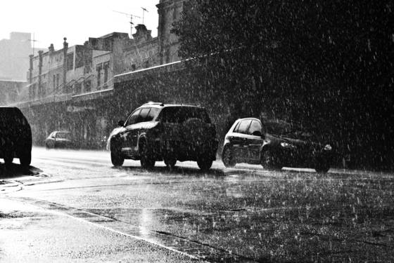 Bondi road in the rain