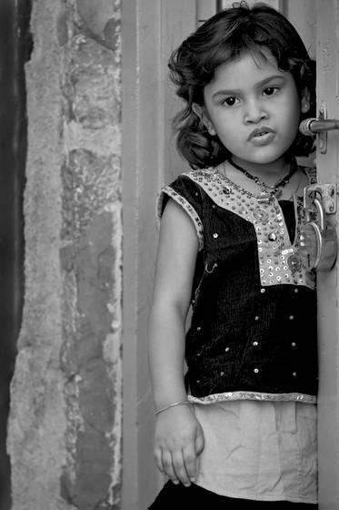 Little girl on the threshold