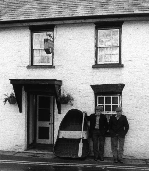 Two villagers with a coracle cenarth