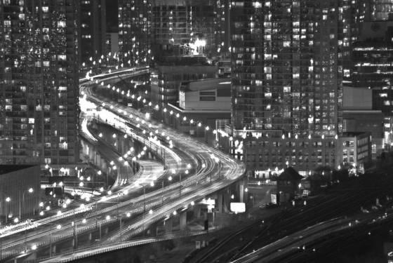 Toronto at night b w