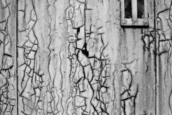 Cracked paint on door
