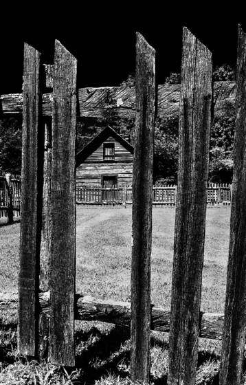 Cabin and fence  blue ridge parkway  va 2004