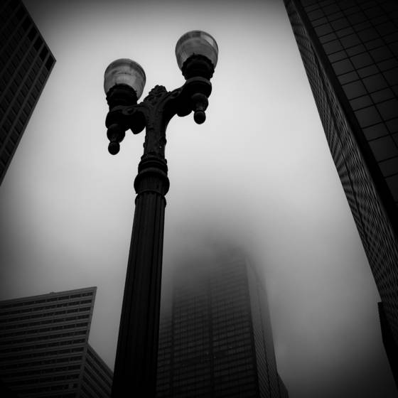 Chicago street in fog