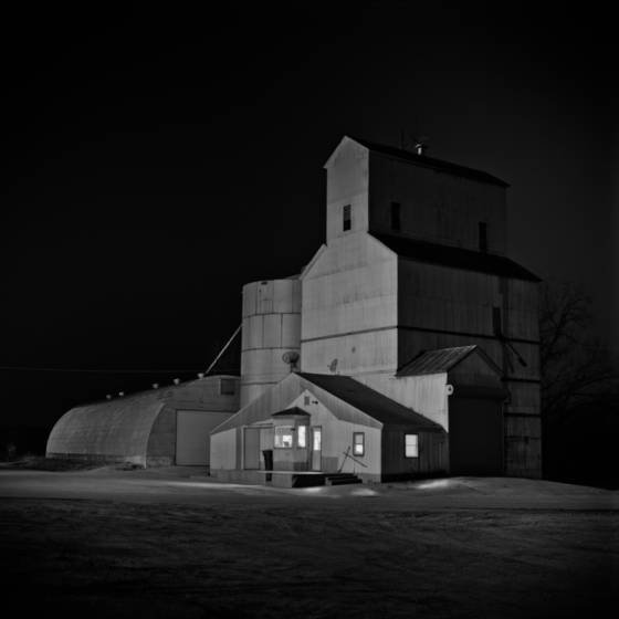 Grain elevator at night