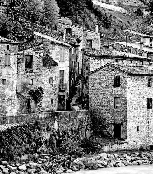 Italian town with man