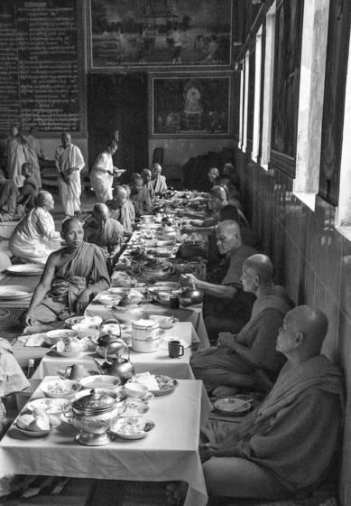 Buddhist monks at dinner