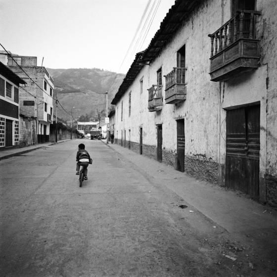 Boy biking the streets