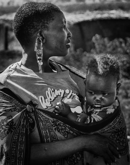 Maasai woman and child