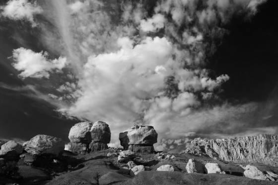 Mushroom rocks and sky bw 0445