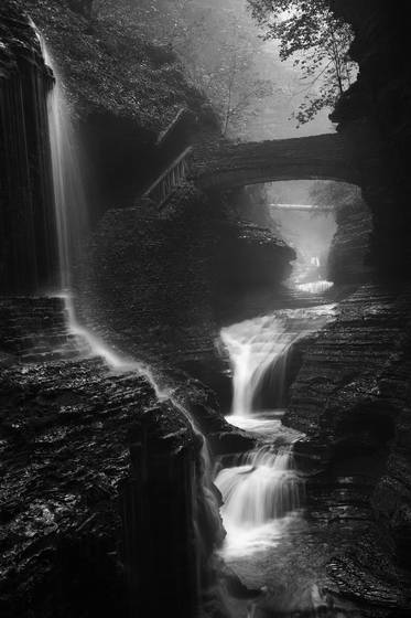 Waterfall on a rainy day