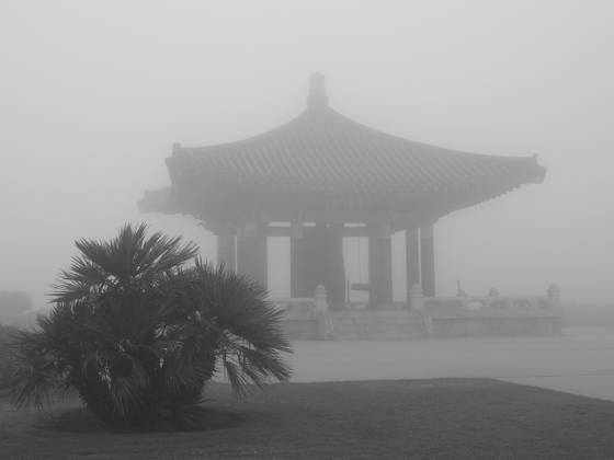 1 1  korean friendship pagoda in fog