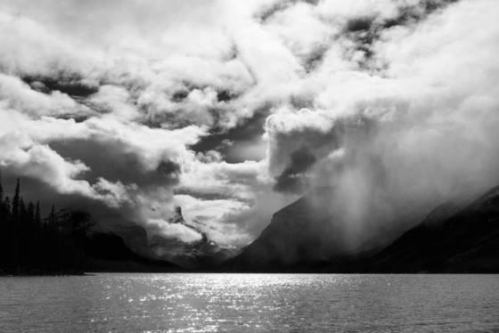 Storm over maligne lake