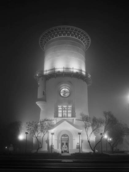 Fresno water tower fog