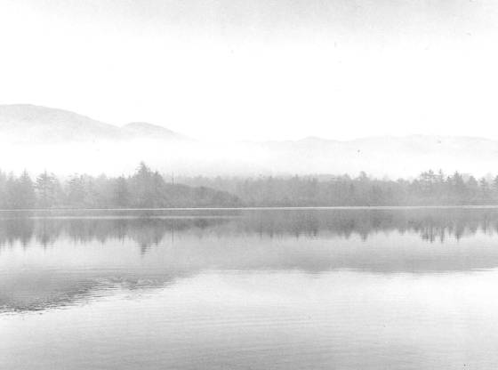 K   pond in morning mist