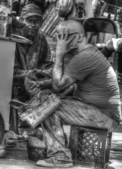 Shy street performer