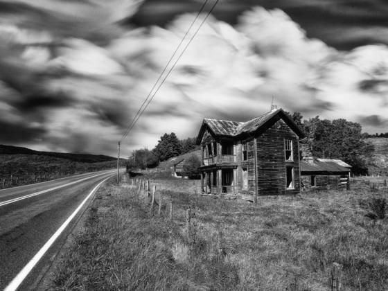 Vanishing   house by the road