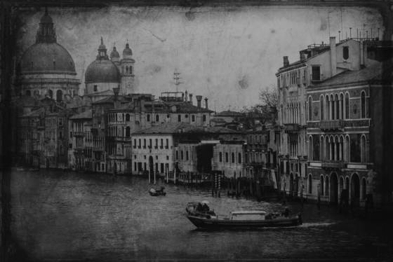 Tin type   morning on grand canal from the accademia bridge