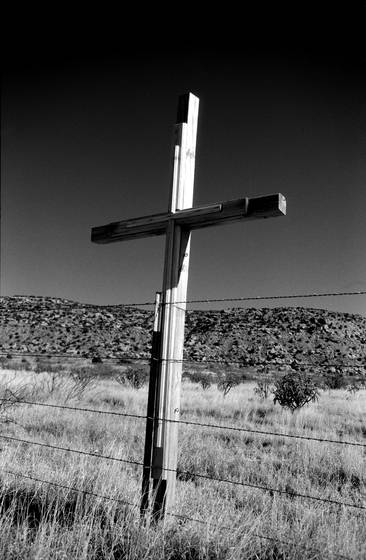 A cross along the road