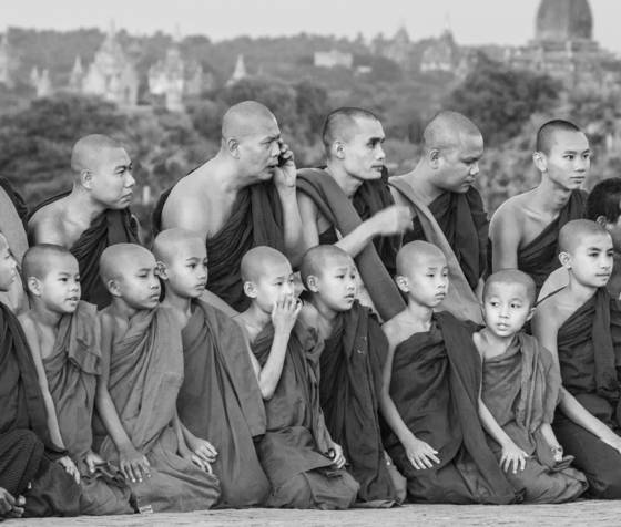 Monks on rooftop